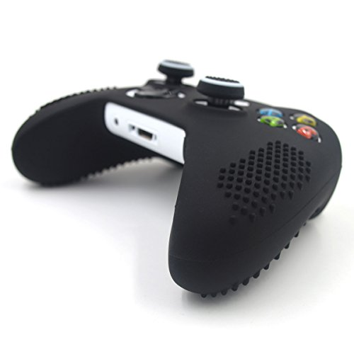 Taifond Anti-Slip Silicone Controller Cover Protective Skins for Microsoft Xbox One S & One X Controller with Two Thumb Grip Caps (Black)