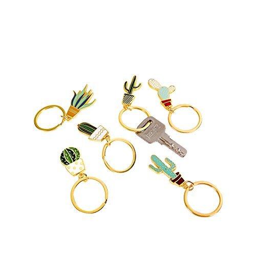 Cute Creative Cactus Shaped Key Chains Key Rings Pendants 6PCS (Key Chain Plant)