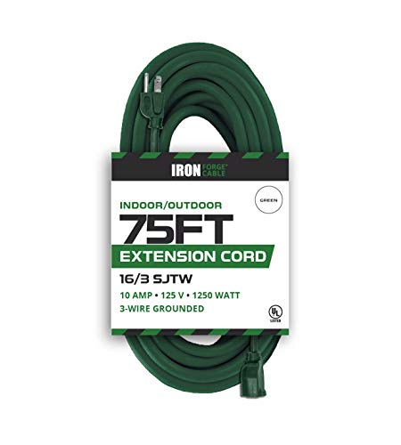 75 Foot Outdoor Extension Cord - 16/3 SJTW Durable Green Extension Cable with 3 Prong Grounded Plug for Safety - Great for Garden and Major Appliances