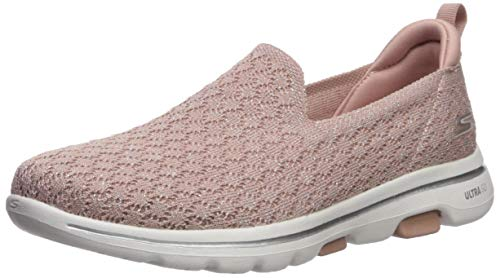 Skechers Women's GO Walk 5-Brave Sneaker, Mauve, 8 Medium US