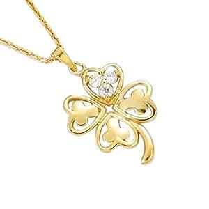 Colgante Trébol 4 Hojas Amuleto Circonita Blanca Chapado Oro (Vendido sin cadena)