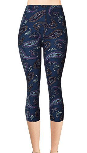 Junior Size Printed Brushed Capris (Deep Sea Paisley)