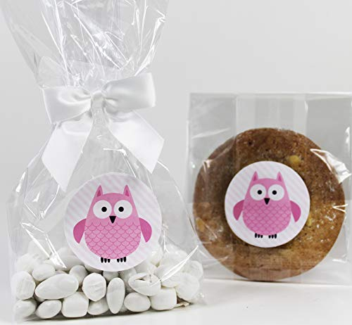 Pink Owl Baby Shower Treat Party Favor Bag Set for Girls with Stickers & Twist-Tie Satin Bows. 10 Ready-to-Use 11x5x3 Clear Cellophane Goodie Gift Bags, Bows and Stickers. Pink, White, -