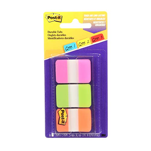 Post-it Tabs, 1 in, Solid, Pink, Green, Orange, Durable, Writable, Repositionable, Sticks Securely, Removes Cleanly, 22/Color, 66/Dispenser, (686-PGO)