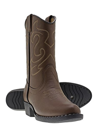 Canyon Trails Kids' Lil Cowboy Pointed Toe Classic Western Boots (Toddler/Little Kid (11 US Little Kid, Brown)]()