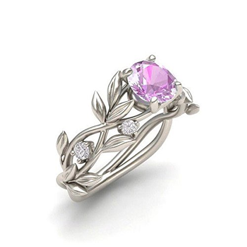 (Floral Rings ODGear Women Silver Transparent Flower Vine Leaf Ring Wedding Gift Engagement Diamond (US 10, Pink))