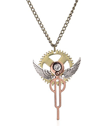 Tian qi Steampunk angel wing necklace Europe and personality (Green)