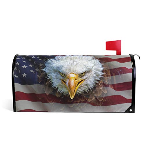 """Wamika Angry North American Bald Eagle Magnetic Mailbox Cover MailWraps, American Flag Large Mailbox Wraps Post Box Garden Yard Home Decor for Outside Oversized 25.5""""(L) x 20.8""""(W) -"""