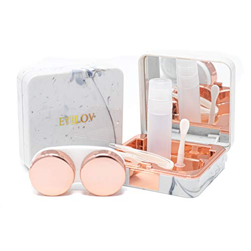 EYELOV Contact Lens Travel Case, Cute Marble Mini Contact Lens Travel Kit Holder Container Includes Contact Lens Remover Tool with Bottle and Tweezers