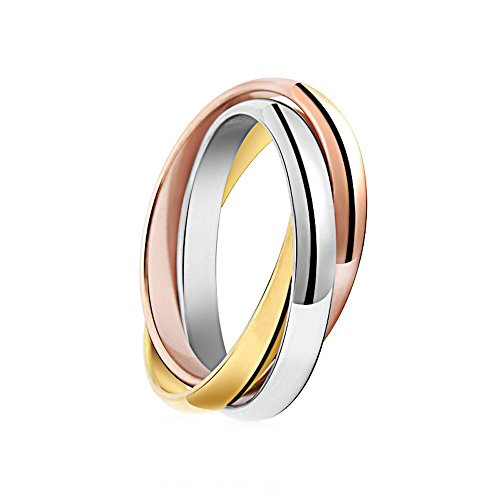 - JAJAFOOK Women's 316L Stainless Steel Tone Interlocked Rolling Wedding Band Rings,Tri color:Gold,Silver,Rose