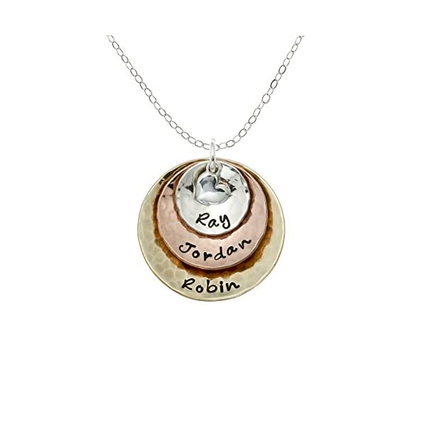 My Three Treasures Personalized Charm Necklace with 925 silver, Gold and Rose Gold Plated discs. Customized with any Words or Names of your choice. Hand-finished. Gifts for Her, Mother, Grandmother, Wife