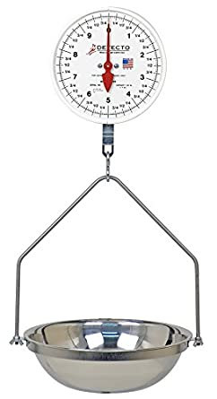 Detecto MCS-40DF Hanging Dial Scale, 40 lb. Capacity, Fish Pan, Double Dial