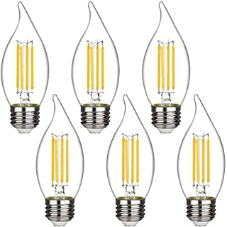 Emitting LED Candelabra Bulb, 4W Dimmable 50W Equivalent, 2700K Warm White 450LM,UL Listed E26 Base LED Candle Bulbs, CA11 (C35) Clear Glass Flame Shape Bent Tip(E26 Medium Base-6 Pack)