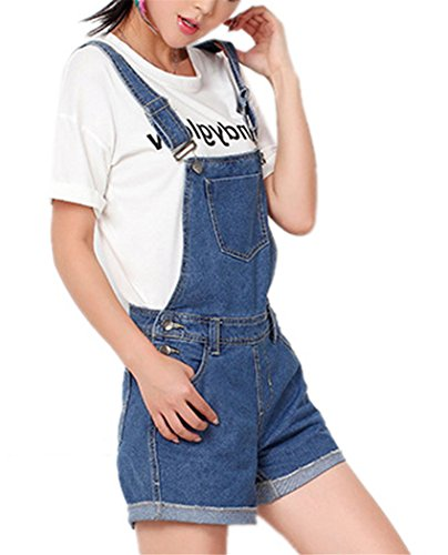 Tengfu Women's Vintage Casual Washed Denim Bib Overall Shorts Romper Cute Shortall Blue ()