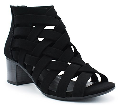 - City Classified Classified Dress Sandal Chunky Heel Over Toe & Ankle Wrap Tie Front Strap Black 6