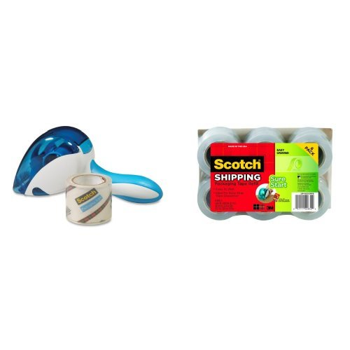 Scotch Easy-Grip Tape Dispenser, 1.88 Inches x 600 Inches ( DP-1000) and Scotch DP-1000RF6 Packaging Tape, 1.88 Inches x 900 Inches (6-Pack) Bundle