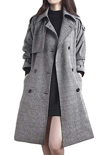 Vepodrau Women Long Trench Coats Classic Belted Plaid Double Breasted Pea Coat Grey (Double Breasted Belted Plaid Coat)