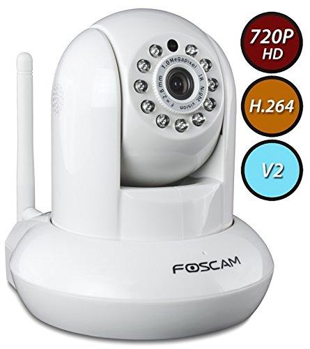 Foscam FI9821W  V2 Megapixel HD 1280 x 720p H.264 Wireless/Wired Pan/Tilt IP Camera with IR-Cut Filter (Foscam Fi9821w V2 Hd Ip)