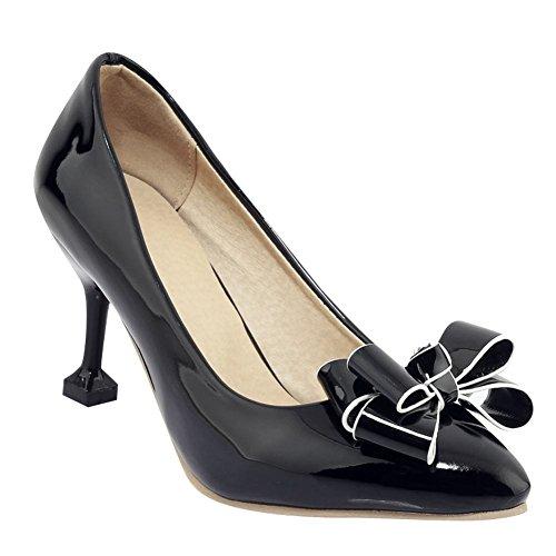 Mee Shoes Damen High Heels mit Schleifen Geschlossen Pumps Schwarz