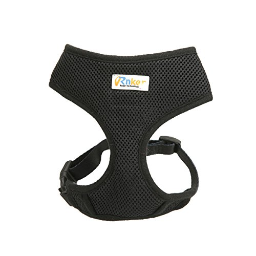 Rnker Soft Mesh Dog Harnesses Padded Vest No Pull Comfort Double Layer Harness for Pet Puppy (Black XL)
