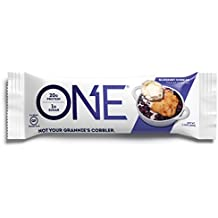 ONE Protein Bar, Blueberry Cobbler, 2.12 oz. (12 Pack), Gluten-Free Protein Bar with High Protein (20g) and Low Sugar (1g), Guilt Free Snacking for Healthy Diets