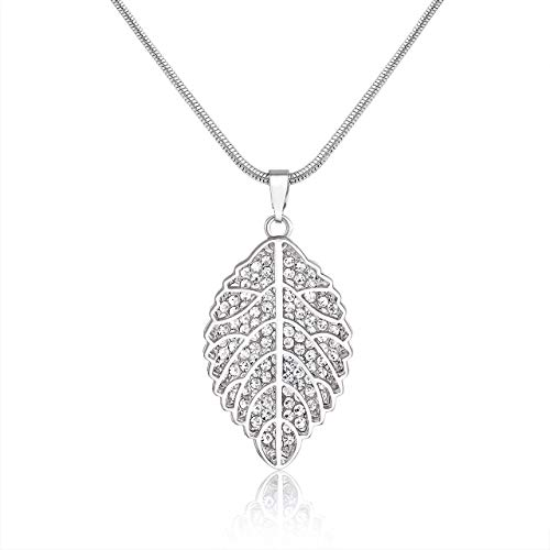 Filigree Leaf Pendant Necklace Pave Crystal 3D Leaf Necklace Snake Chain Long Necklaces for Women (Silver)