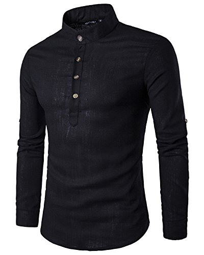 JoJoJoy Men's Casual Sexy Henley Neck Linen Roll-up Long Sleeve Work Shirts Black Size - Fashion Linen