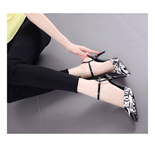 Feminine Pointed-Toe Sexy Shallow Mouth Stiletto Heel Summer Sandals (Color : Black, Size : 37)