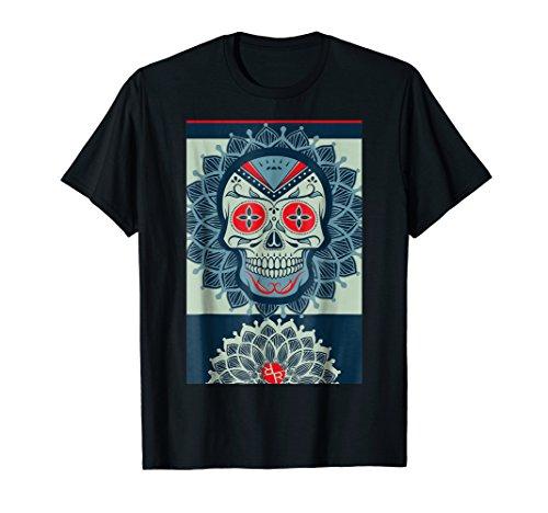 Mexico Dia de los Muertos Flaming Skull Tees: Biker (Halloween Devil Face Painting Ideas)