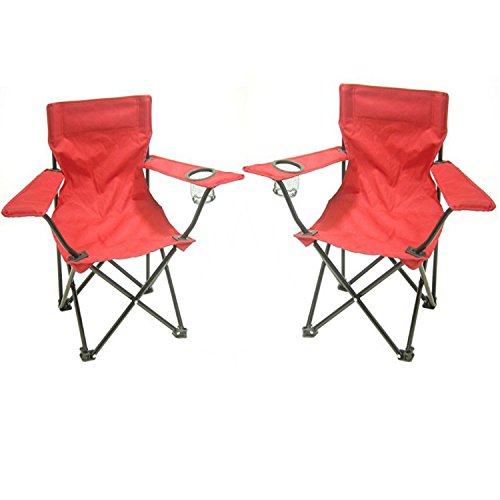 Redmon Kids Folding Camp Chair, Red (Set of 2)