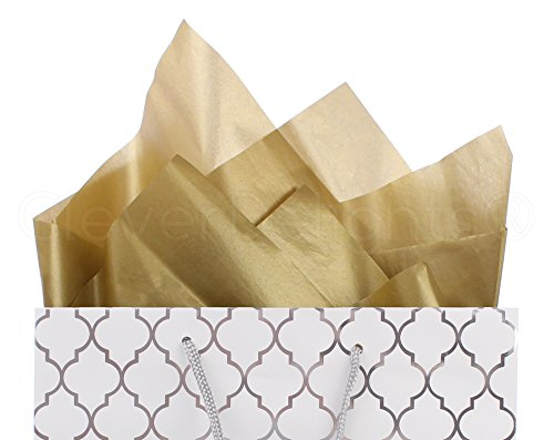 (CleverDelights Metallic Gold Premium Tissue Paper - 100 Sheets - 20