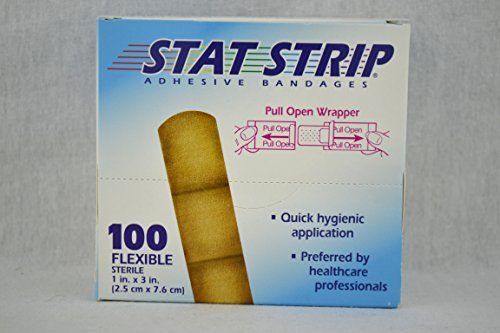 STAT STRIP Adhesive Bandages 100 Flexible LATEX FREE 1x3 inch -