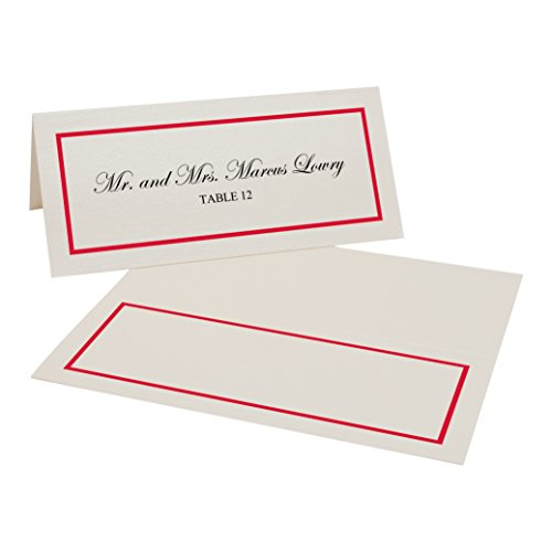 Single Line Border Easy Print Place Cards, Champagne, Ruby Red, Set of 75 (19 Sheets) (Champagne Ruby)