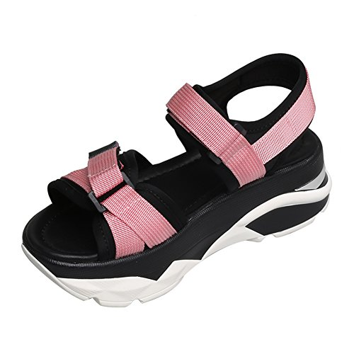 Pink Sandalen UK3 Muffin ZCJB L 22 Heel Dicke größe Sandalen Freizeit Mid Bottom EU36 Sport Klett Schuhe Frau 5cm Sommer Farbe TS6zSq