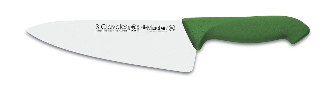 3 Claveles Proflex - Cuchillo Cocinero 20 cm, Acero Inoxidable, Verde