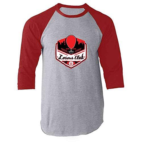 Losers Club Derry Maine Logo Horror Halloween Red M Raglan Baseball Tee -