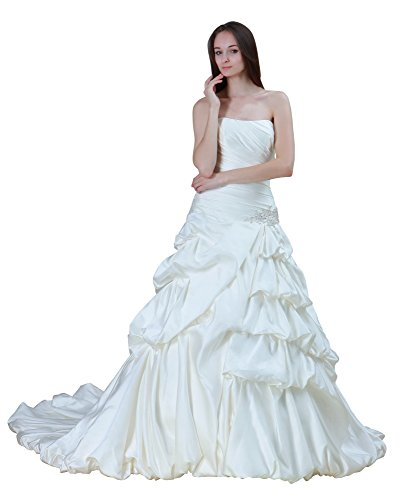 Vogue007 Womens Strapless Satin Wedding Dress with Drape, ColorCards, 16 by Unknown