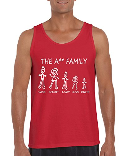 The Ass Family Wise Smart Lazy Kiss Dumb Funny Family Men's Tank Top Shirt for Men(Red,X-Large) (Wise Ass)