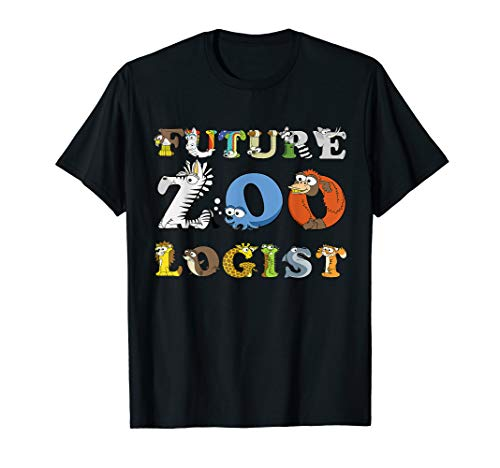 Kids Future Zoologist T-shirt Alphabet Wildlife Animals Gift ()