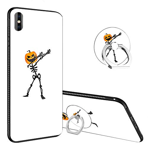 iPhone XR Case,Skeleton Pumpkin Halloween Funny iPhone XR Tempered Glass Back Cases with Finger Ring Stand for Girl/Boys, 360°Rotatable Ring Holder Kickstand Fashoin Soft TPU Case for iPhone -