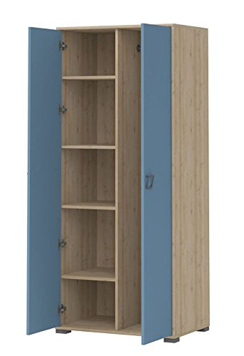 Kinderzimmer - Drehtürenschrank / Kleiderschrank Benjamin 12, Farbe: Buche / Blau - 198 x 84 x 56 cm (H x B x T)