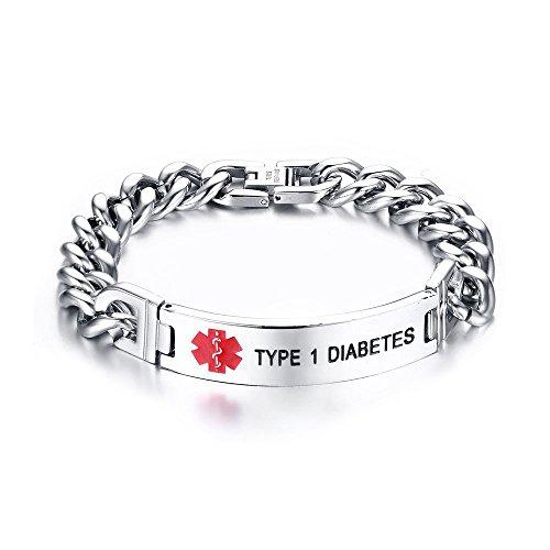 VNOX TYPE 1 DIABETES Bracelet Stainless Steel