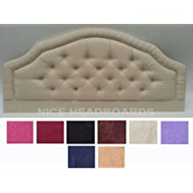 Stylish Huston 4FT6 Double Size Bed Headboard Finished In A Luxury Velour Fabric - Available In A Range Of 10 Colours (Cream) by Huston