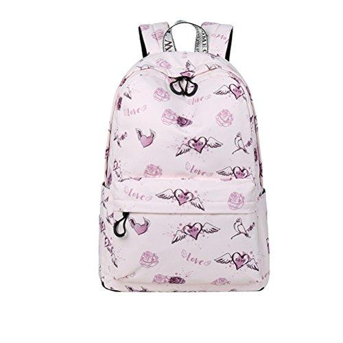 nuevo tejido impermeable y mochila mujeres patrón de flores de alta calidad impresión Girls College mochila diaria Rosa set 14 pulgadas Pink