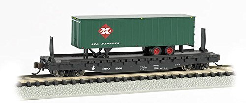 Bachmann 52'6  Flat Car with 35' Ribbed Piggyback Trailer - B&O with REA TRAILER - N Scale by Bachmann Trains