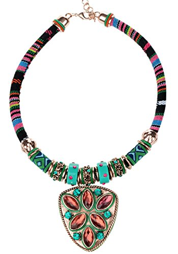 Veenajo Cyber Monday Womens Vintage Ethnic Colorful Rope Chain Beaded Pendant Necklace (Homemade Cupcake Costume Kids)