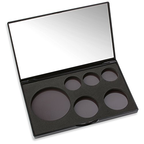 Magnetic Makeup Caddy - Empty Makeup Organizer Palette With Mirror - Configurable for Any Pan Plus Metal Stickers ()