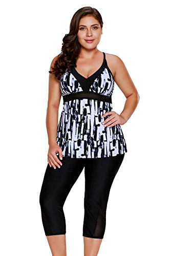 Gloria&Sarah Women's Retro Abstract Print Two Piece Plus Size Tankini Capris Short Swimsuit,Black,XXX-Large