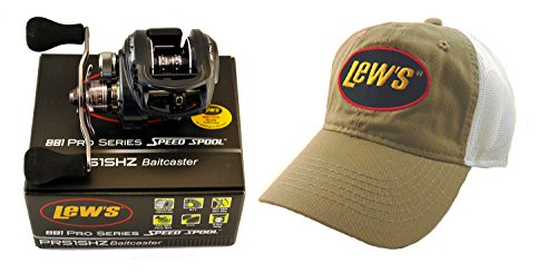 Reel Baitcast Pro (Lews BB1 PRO SERIES PRS1SHZ 7.1:1 RIGHT HAND BAITCAST REEL + HAT)
