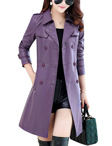 Tanming Womens Autumn Fashion Lapel Double Breasted Lambskin Leather Jacket Coat (Purple, Small)